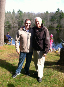 Selectman Pacheco with Former Rep David Flynn during his annual Youth Fishing Derby.